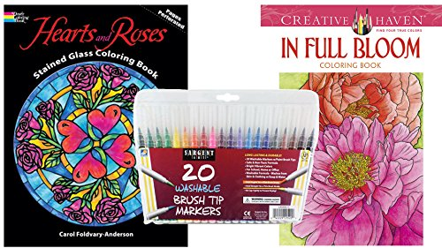 Sargent Art Washable Firm Brush Tip Markers In A Case Set Of 20 And 2 Dover Adult Coloring Books Full Bloom Stained Glass Hearts Roses Stress